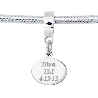 Oval custom engraved charm on a dangle bead