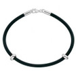 Black rubber European bracelet with sterling silver clasp.