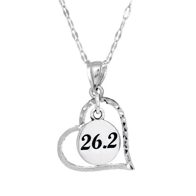 Sterling silver heart pendant with 26.2 round charm in the center.