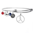 Runner Girl Circle Bangle bracelet with red, clear and Blue Swarovski crystals.