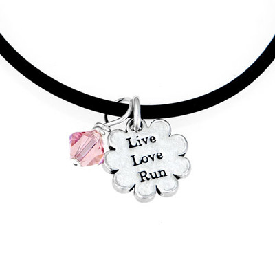 Black cord necklace with Live Love Run mini charm and pink Swarovski crystal.