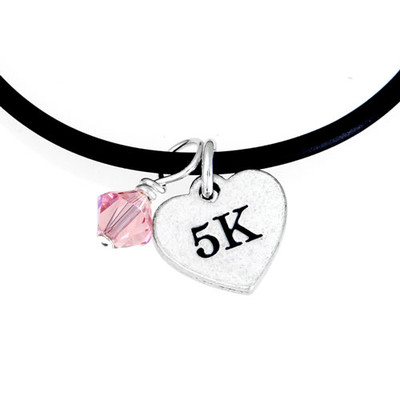 Rubber cord necklace with 5K Heart mini charm and pink Swarovski crystal drop.