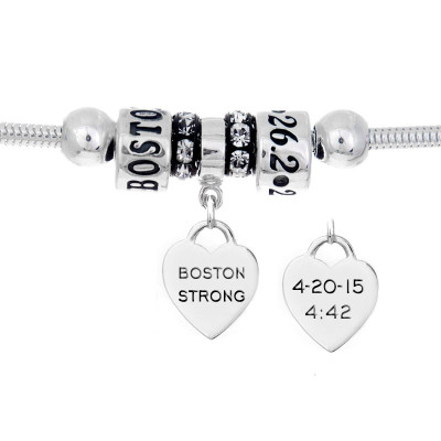 Boston Strong European bracelet with custom engraved finisher charm, 26.2 bead, and Boston Strong bead.