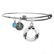 Triathlon adjustable bangle bracelet with swim, bike, run symbol pendant.