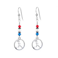 Runner Girl circle earrings with red, clear and blue Swarovski crystals.