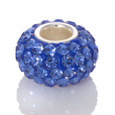side view Blue Swarovski Crystal Pandora style bead.