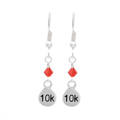 sterling silver 10K dangle earrings with a red crystal.