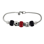 Ironman Triathlon bracelet with 70.3 bead, Triathlon bead and black and red crystal pave beads