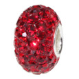 Red Swarovski Crystal European bead.