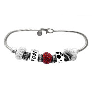 Ironman crystal and sterling silver European bracelet.