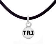 Triathlon mini charm cord necklace.
