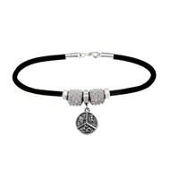 Rubber European bracelet with Triathlon dangle bead, and 2 clear crystal spike European beads.