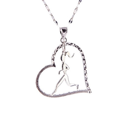 Sterling silver Runner Girl Heart necklace on Star chain.