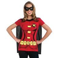 Women's Robin T-Shirt with a black cape and mask.