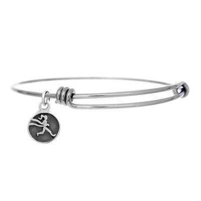 Base adjustable bangle charm bracelet with Milestones runner girl mini charm.