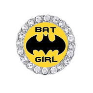 Batgirl logo with rhinestones around it.