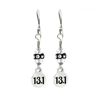 13.1 mini charm dangle earrings with black and clear rondelles.