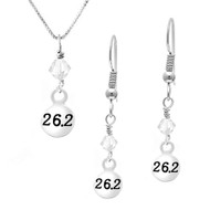 26.2 necklace and earrings set with clear crystal drop.