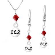 26.2 necklace and earring set with red crystal drops.