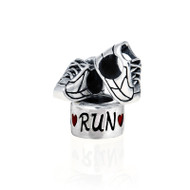 running shoe bead and Run heart Pandora style bead combo.
