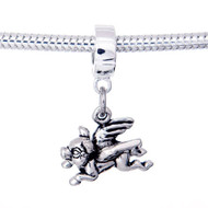 Sterling Silver Flying Pig European dangle bead
