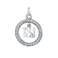 13.1 charm surrounded by cubic zirconia stones.