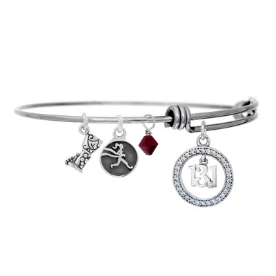 Half marathon 13.1 bangle bracelet with wine glass charm.