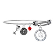 13.1 wine and run bangle bracelet with red crystal drop.