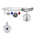 Space Coast Discovery dated pendant on bangle bracelet with 13.1 charm and crystals.