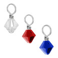 Red, Clear and Blue Swarovski Crystal drops.