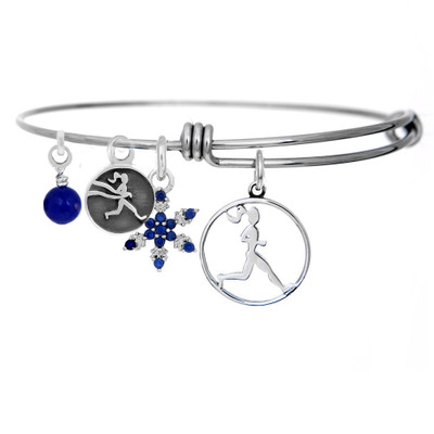 Runner Girl Snowflake bangle bracelet.