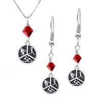Triathlon round charm necklace and earring set with red crystals.
