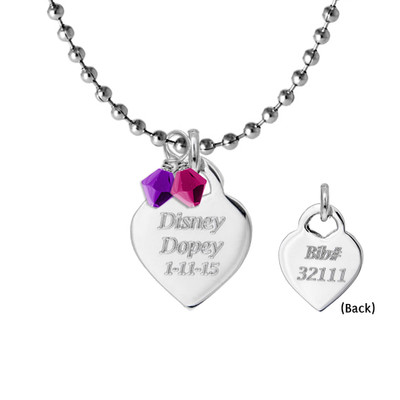 Engraved Charm on Ball Chain and Crystals (Front & Back of Charm)