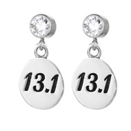 13.1 round charms on cubic zirconia posts.