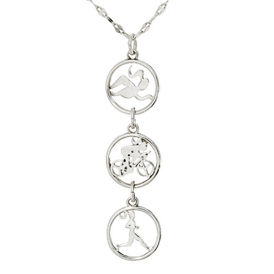 Triple charm vertical necklace with swimmer, biker and runner round charms.