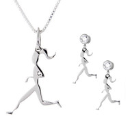 sterling silver runner girl necklace and earring set.