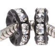 2 black and Clear crystal spacer beads.