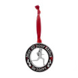 Red round pewter christmas ornament with saying May all Your Miles be Merry on white background.