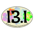 13.1 car magnet. Font is Tropical style with Hawaiian flowers in background.