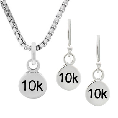 10K round earrings and matching necklace set.