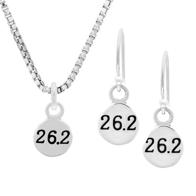 Sterling Silver 26.2 mini charm necklace and earring set together.