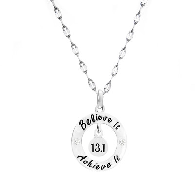 Believe it, Achieve it 13.1 necklace on a star chain.