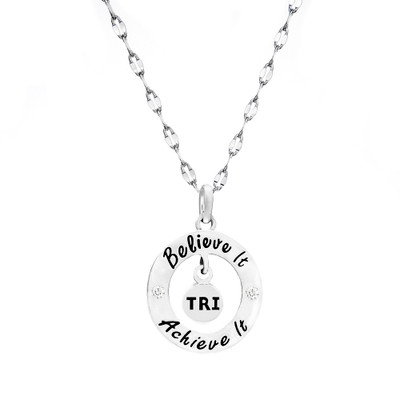 Triathlon Believe it Achieve It necklace on a star chain.