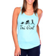 Front shot of Tri Girl Cancun blue tank top on model.