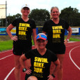 Group shot of 3 models wearing swim, bike, run, live t-shirt.
