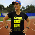 Model wearing black Swim, Bike, Run, Live triathlon tee.
