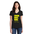 Swim, Bike, Run, Live Black V-Neck performance tech tee