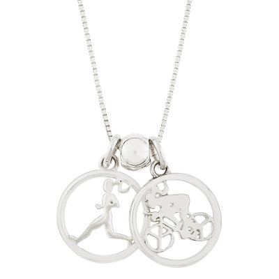 Duathlon necklace with Runner charm and Biker charm.