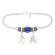 Sterling Silver European bracelet with runner girl and biker girl round dangle beads and crystal beads.