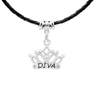 Diva Tiara charm on slide on Black leather necklace.